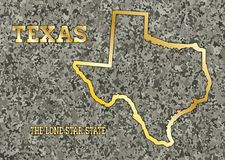 Texas Map Carved in Stone With Gold Leaf Imprint. Map of the state of Texas carved into a granite block with gold leaf Stock Images