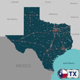Map of state Texas, USA. Vector set of Texas state with roads map, cities and neighboring states Royalty Free Stock Photos