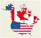 Map of the states of canada and usa represented as flag Royalty Free Stock Images