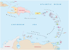 Map of the states of the lesser Antilles vector illustration