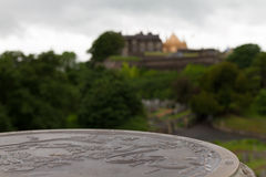 Map of Stirling Old Town on stone with Stirling Castle  Royalty Free Stock Photo