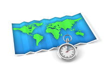 Map with stopwatch. Isolated on white background stock illustration