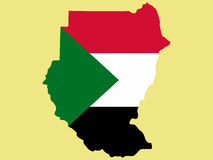 Map of Sudan. And Sudanese flag illustration Stock Images