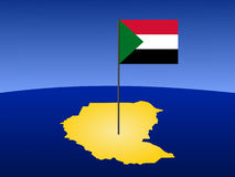 Map of Sudan with flag. Map of Sudan and their flag on pole illustration Stock Photo