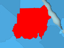 Map of Sudan. Sudan in red on blue political map. 3D illustration Stock Photography