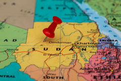 Map of Sudan with a red pushpin stuck Royalty Free Stock Photo