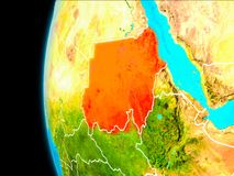Map of Sudan in red. Sudan as seen from Earth's orbit on planet Earth highlighted in red with visible borders. 3D illustration. Elements of this image Stock Photography