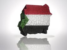 Map of sudan. With sudanese Flag on a white background Royalty Free Stock Photos