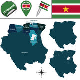 Map of Suriname with Named Districts Royalty Free Stock Photos
