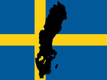Map of Sweden. And Swedish flag illustration Royalty Free Stock Photography