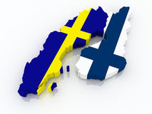 Map of Sweden and Finland. 3d Stock Photo