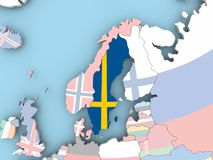 Map of Sweden with flag on globe. Sweden with embedded flag. 3D illustration Stock Image