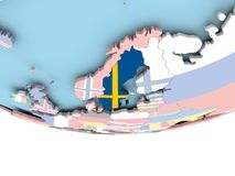 Map of Sweden with flag on globe. Sweden on globe with flag. 3D illustration Royalty Free Stock Photo