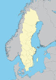 Map of Sweden Royalty Free Stock Photos