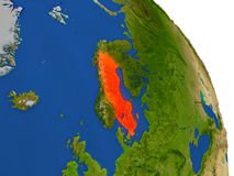 Map of Sweden in red Stock Photo