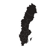 Map of sweden with regions illustrated Stock Image