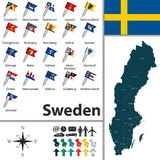 Map of Sweden Stock Photos