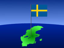 Map with Swedish flag Stock Photo