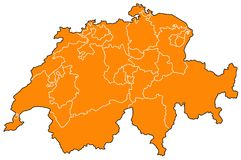 Map of Switzerland Stock Photography
