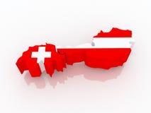 Map of Switzerland and Austria. Stock Photo
