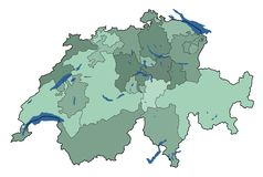 Map of switzerland with Lakes Royalty Free Stock Photos