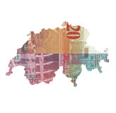 Map of Switzerland made of 20 franc note Royalty Free Stock Photo