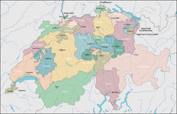 Map of Switzerland Royalty Free Stock Photo