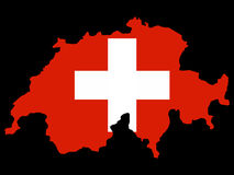 Map of Switzerland and Swiss flag Stock Photo