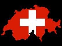 Map of Switzerland and Swiss flag Stock Photo