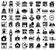 Map symbol icon set. Place of government, official, travel, transport, relaxation, museum Royalty Free Stock Images