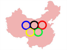 Map&symbol of Olympic games. The image of a map of China with a symbol of Olympic games - Olympic rings on the middle Royalty Free Stock Photo