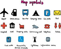 Map symbols. Vector map symbols on white background Stock Photo