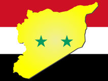 Map of syria. And syrian flag illustration Stock Images