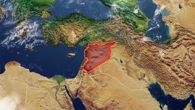 Map of Syria and borders stock video footage