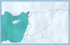 Map of Syria and borders, physical map Middle East, Arabian Peninsula. Mediterranean Sea Royalty Free Stock Photography