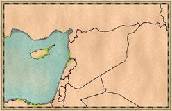 Map of Syria and borders, physical map Middle East, Arabian Peninsula. Mediterranean Sea Stock Image
