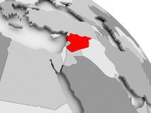 Map of Syria. 3D render of Syria in red on grey political globe. 3D illustration Stock Photos