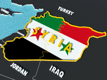 Map of Syria divided with government and rebel flags with surrounding countries - 3D render Stock Photography