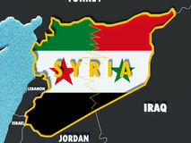 Map of Syria divided with government and rebel flags with surrounding countries - 3D render Stock Image