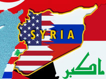Map of Syria divided with USA and Russia flags with surrounding countries - 3D render. USA and Russia conflict and disputes over situation in Syria and Assad Royalty Free Stock Images