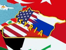 Map of Syria divided with USA and Russia flags with surrounding countries - 3D render. USA and Russia conflict and disputes over situation in Syria and Assad Royalty Free Stock Photos
