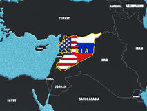 Map of Syria divided with USA and Russia flags with surrounding countries - 3D render. USA and Russia conflict and disputes over situation in Syria and Assad Stock Photos