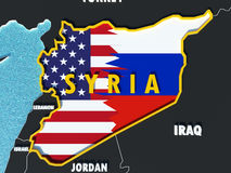Map of Syria divided with USA and Russia flags with surrounding countries - 3D render. USA and Russia conflict and disputes over situation in Syria and Assad Stock Photo