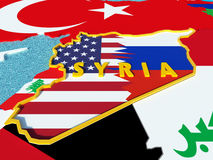 Map of Syria divided with USA and Russia flags with surrounding countries - 3D render. USA and Russia conflict and disputes over situation in Syria and Assad Royalty Free Stock Image