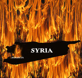 Map of Syria on fire Royalty Free Stock Images