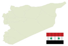 Map of Syria. With Flag stock illustration