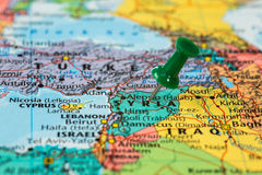 Map of Syria with a green pushpin stuck Royalty Free Stock Photography