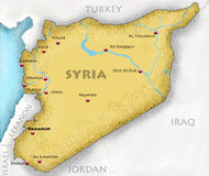 Map of Syria. Hand-drawn map of Syria and neighboring countries Stock Images