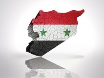 Map of Syria. With Syrian Flag on a white background Royalty Free Stock Photography