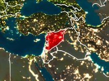 Map of Syria at night. Syria highlighted in red from Earth's orbit at night with visible country borders. 3D illustration. Elements of this image furnished by Royalty Free Stock Image